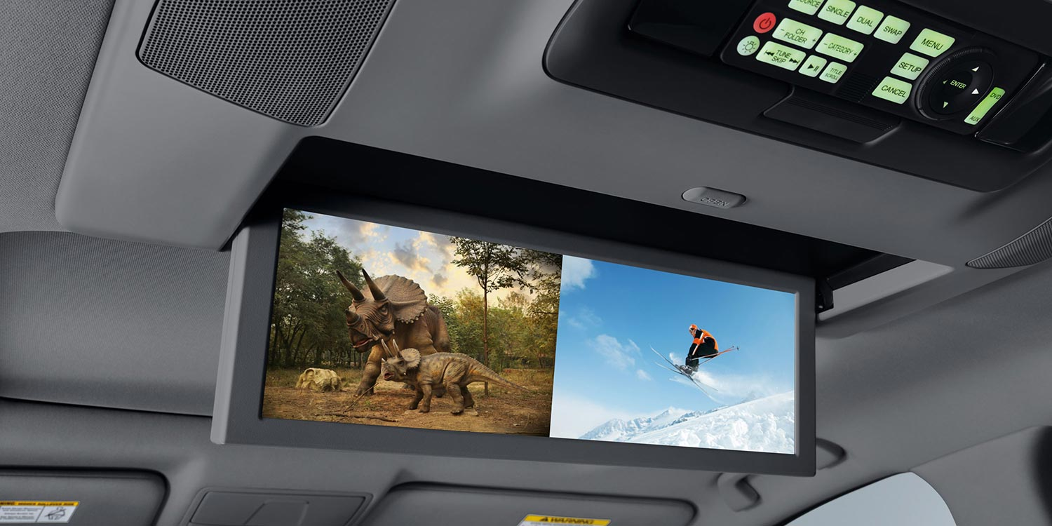16.2″ screen in the overhead console for rear entertainment