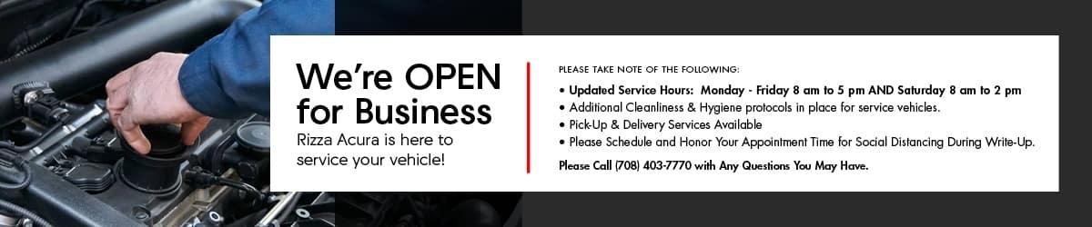 Rizza Acura Service is Open
