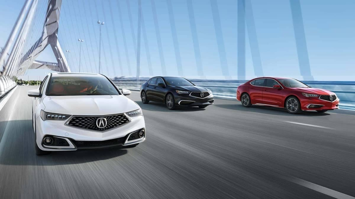 three 2019 Acura TLX's on road