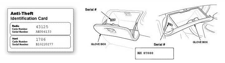 anti-theft identification code. and radio code in glovebox