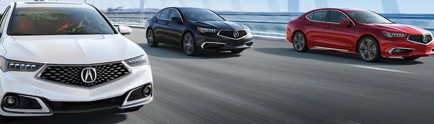 Three 2020 Acura TLX models on the road