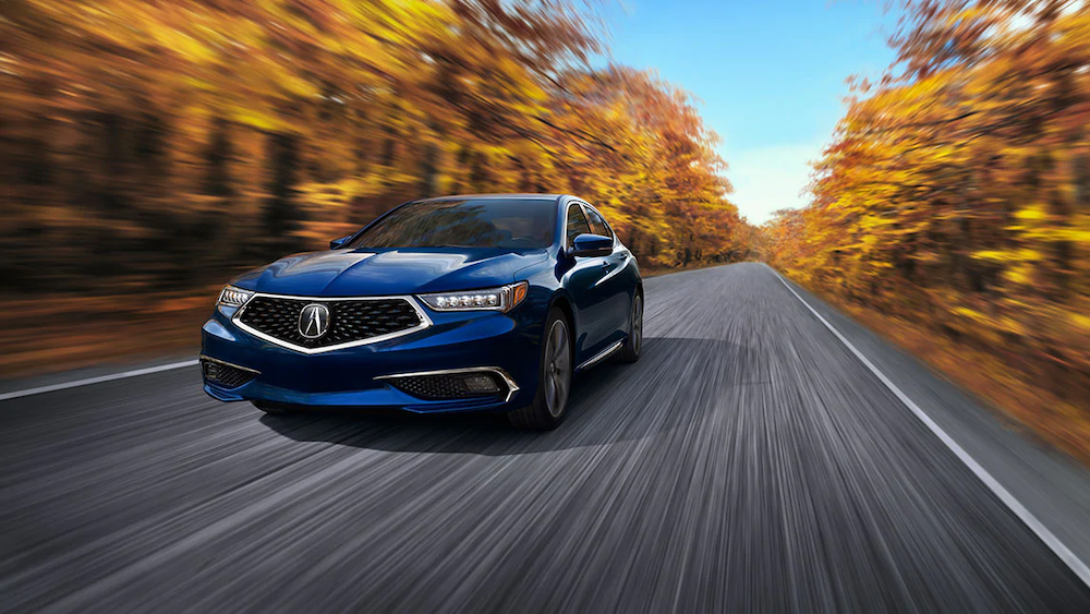 Blue 2020 TLX on the road