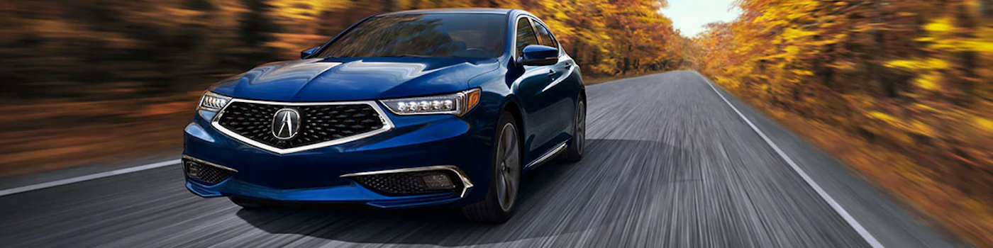 2020 TLX driving on a wooded road