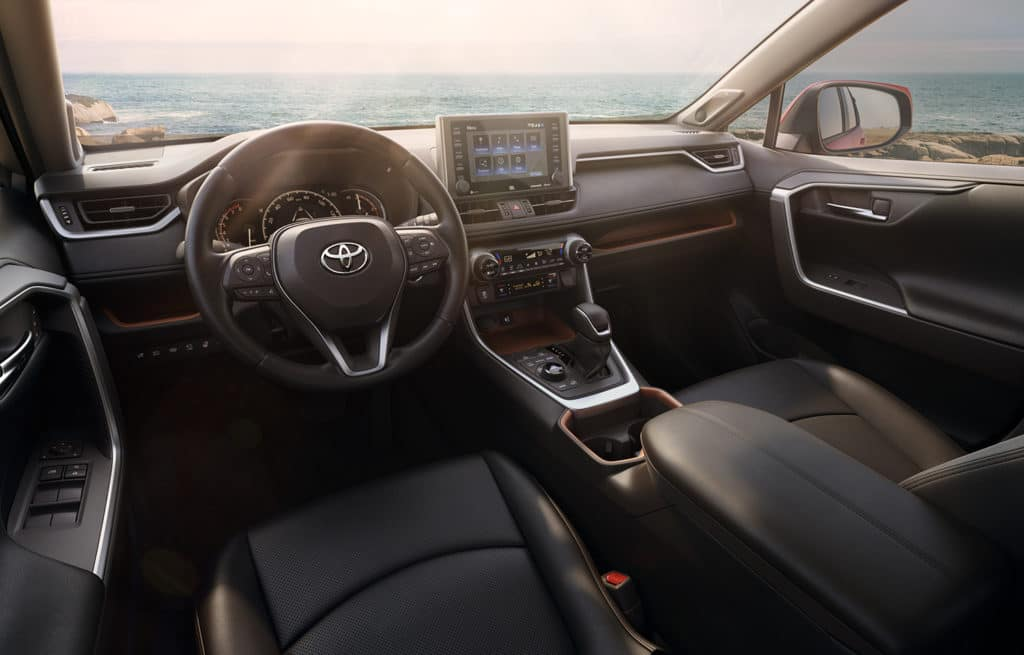 Interior view of the 2019 RAV4 cabin