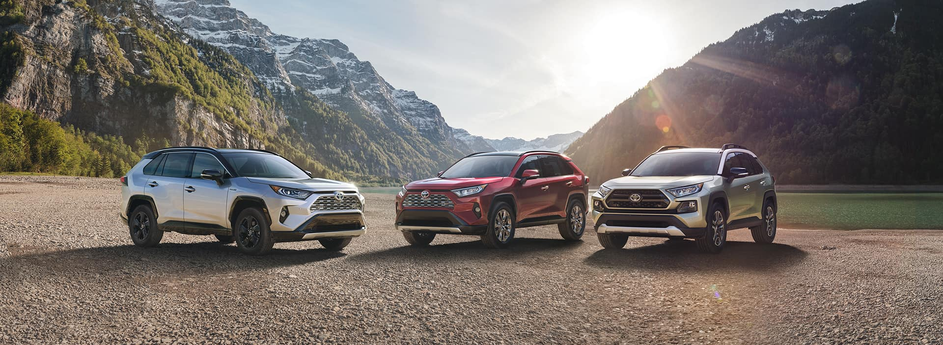 Three All-New 2019 RAV4 Models Lined up by Mountains