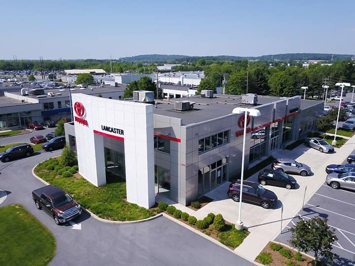 Lancaster Toyota is a Toyota Dealer Near Lancaster PA | Lancaster Toyota Dealership Building Aerial View