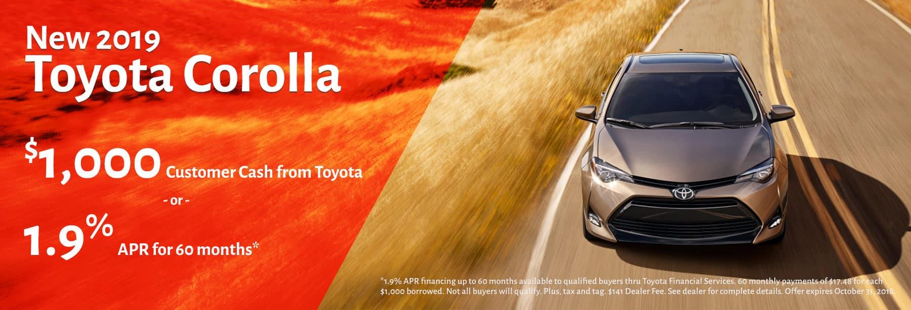 Toyota Corolla October 2018 Promotion