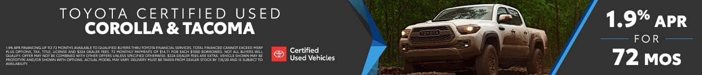 Certified Corolla & Tacoma