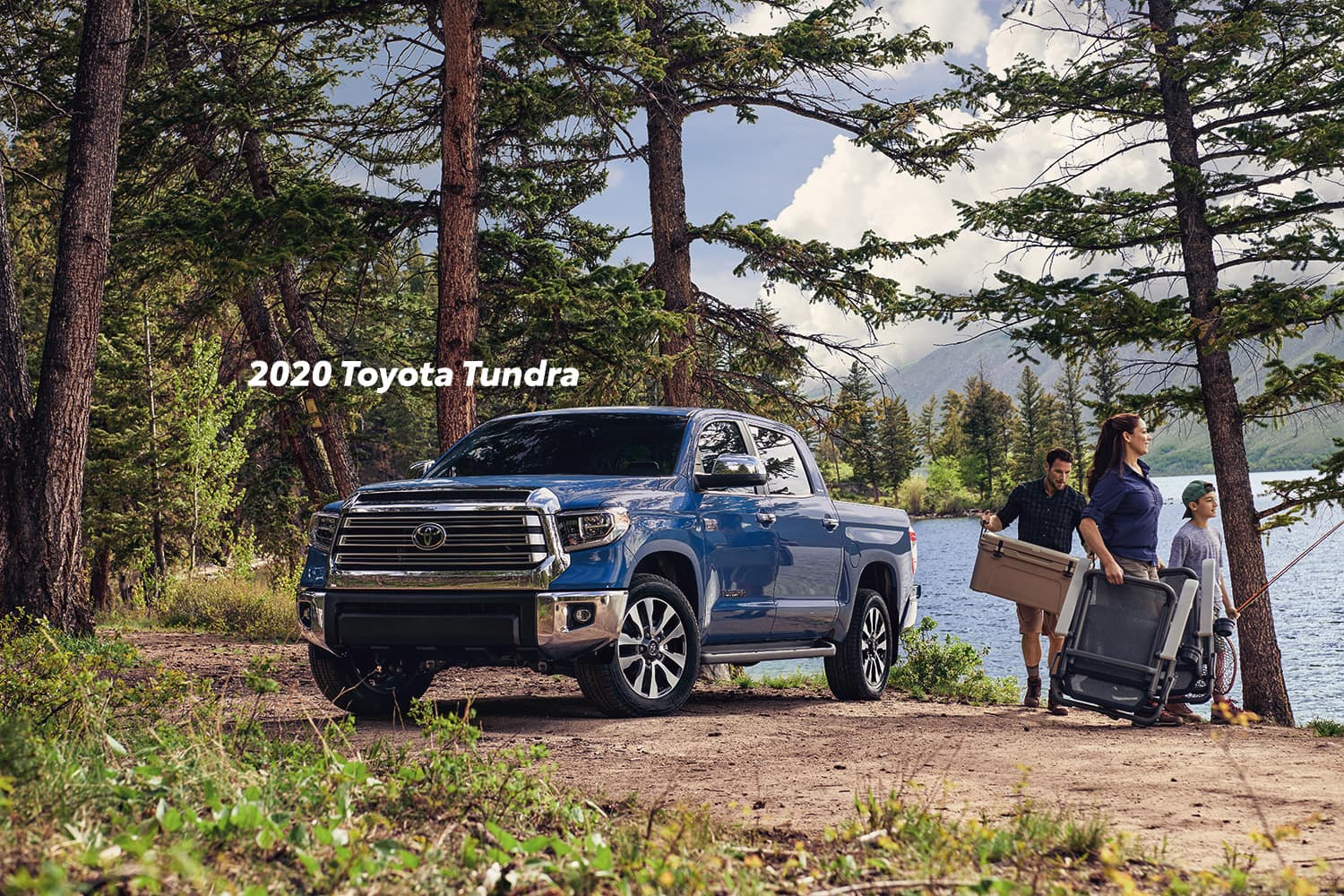 Comparison of the Toyota Tacoma vs. Tundra trucks at Lancaster Toyota of East Petersburg | Blue 2020 Toyota Tundra parked in the wood