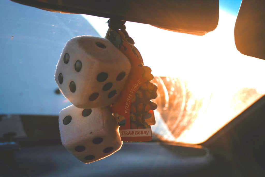 What you can get to personalize your vehicle at Lancaster Toyota in East Petersburg, PA | Fuzzy dice and car freshener inside vehicle