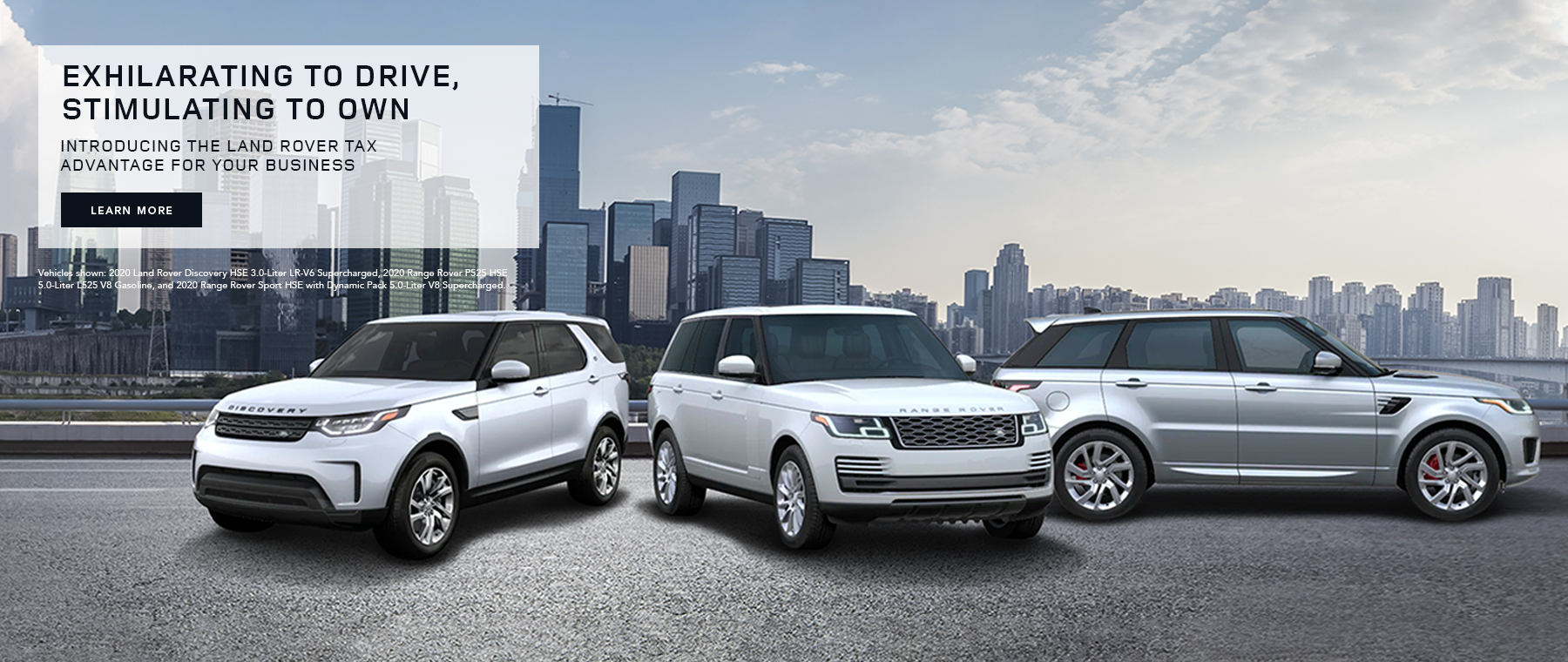 Exhilarating to Drive, Stimulating to own. Introducing the Land Rover TAX Advantage for your business