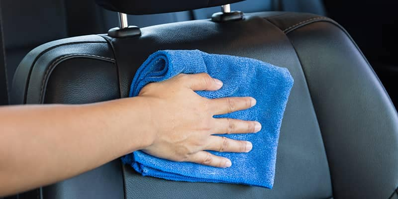 Cleaning Leather Seats with a Micro Fiber Cloth