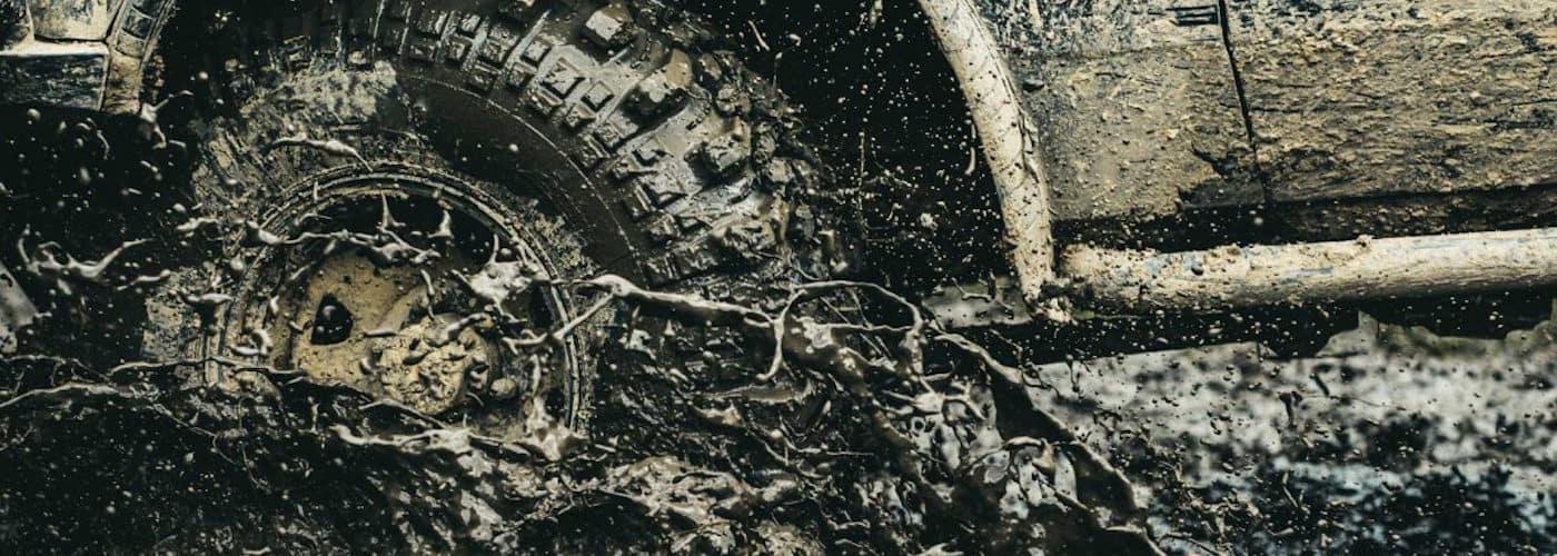 Muddy off-road tires