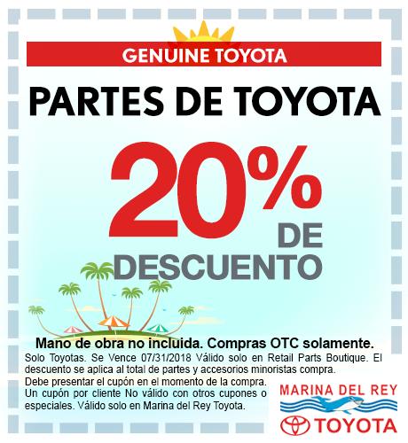 Partes de Toyota 20% de descuento especial