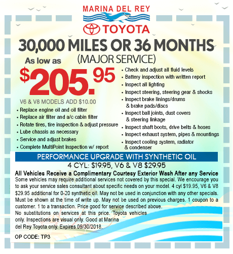 30,000 Miles or 36 Months Major Service $205.95