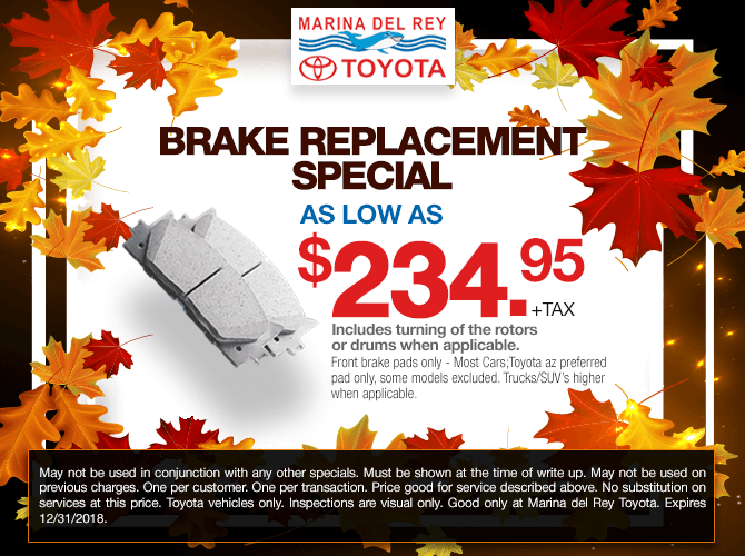 Brake Replacement Special $219.95 + tax