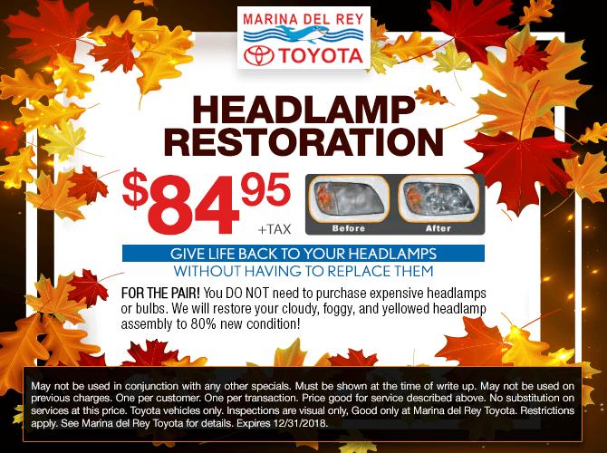 Headlamp Restoration $84.95 + tax