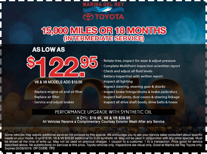 15,000 Miles or 18 Months Intermediate Service $122.95