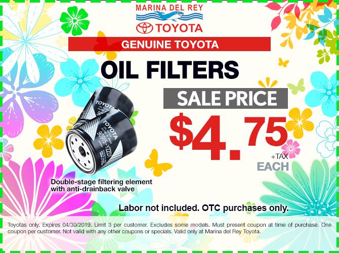 Genuine Toyota Oil Filters $4.75 + Tax
