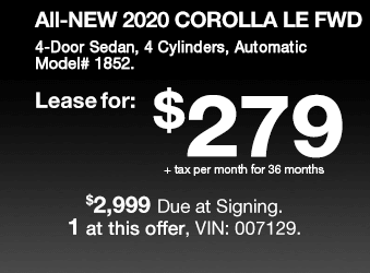 Toyota Sales Event 2020 Corolla Lease Offer