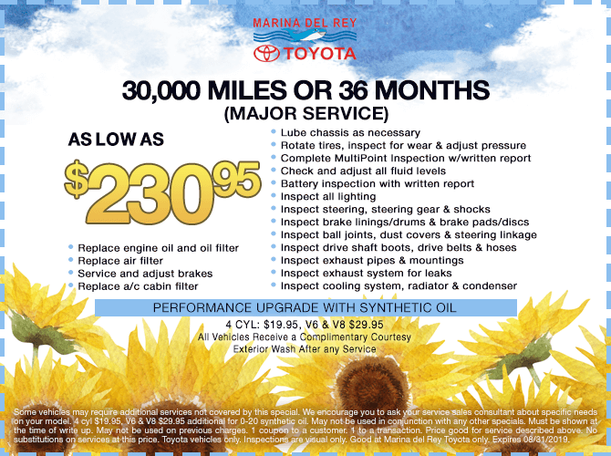 30,000 Miles or 36 Months Major Service $230.95