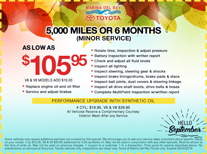 5,000 Miles or 6 Months Minor Service $105.95