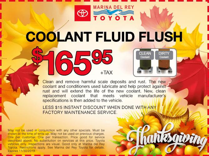 Coolant Fluid Flush $165.95 + tax