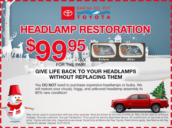Headlamp Restoration $99.95 + tax