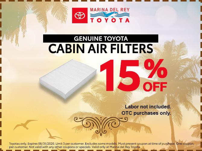 Genuine Toyota Cabin Air Filter 15% Off