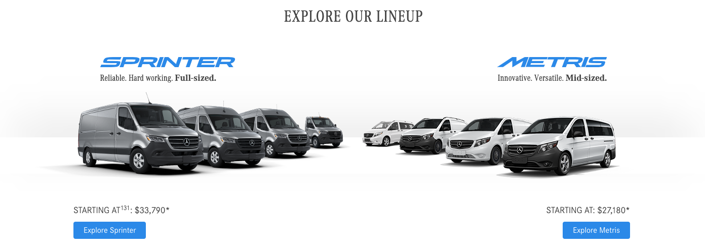 Explore Our Lineup Mercedes-Benz Vans