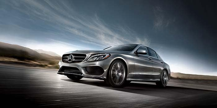 2018 Mercedes-Benz C300 on a wind-swept plateau