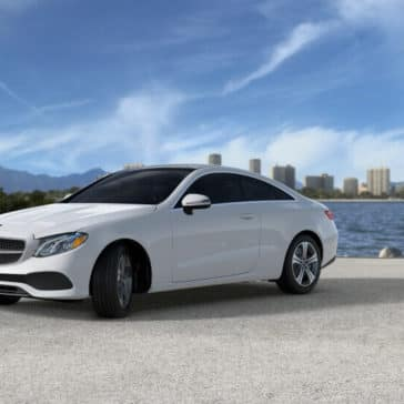 2018 Mercedes-Benz E Class Coupe on the Beach