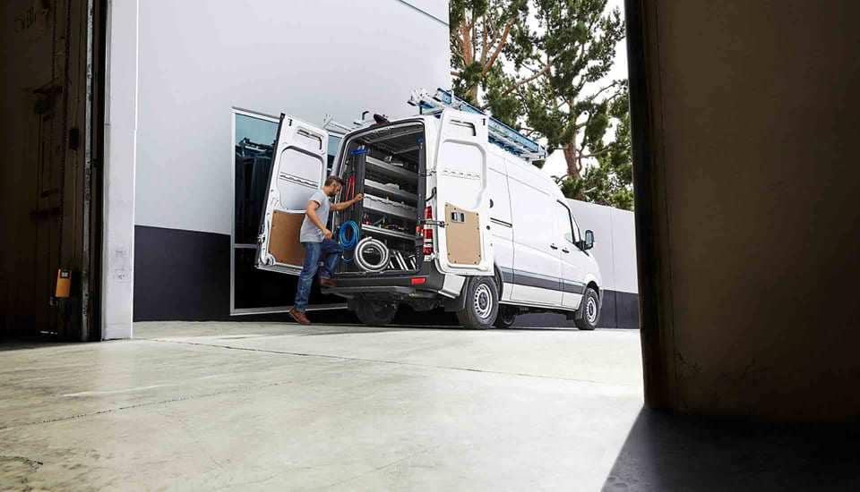 2017 Sprinter Cargo Van Exterior With Rear Doors Opens