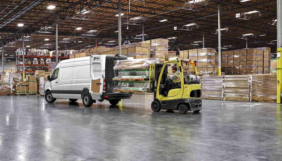 2017 Sprinter Cargo Van Exterior in a wearhouse