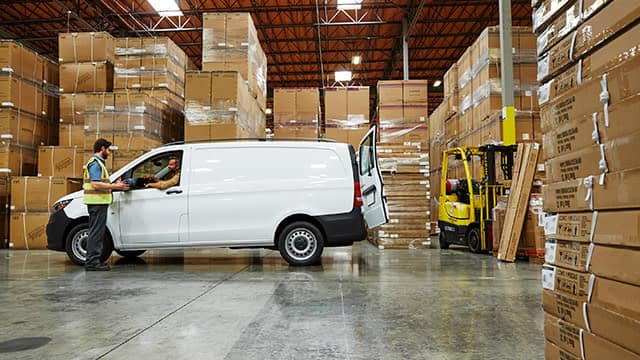 2018 Metris Cargo Van surrounded by boxes