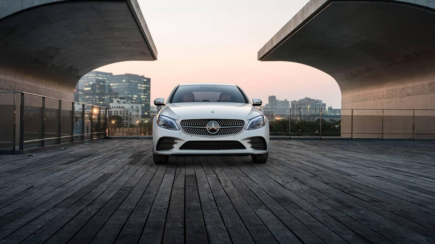 2019 Mercedes Benz C Class Sedan white front exterior