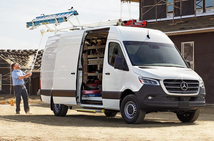 van with open side door