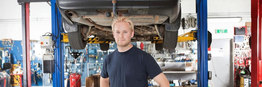 Trained mechanic in a shop