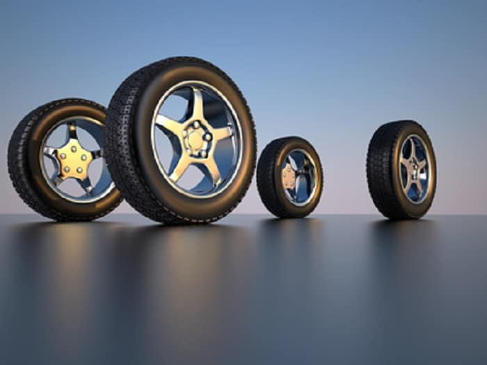3d illustration of four car wheel tire