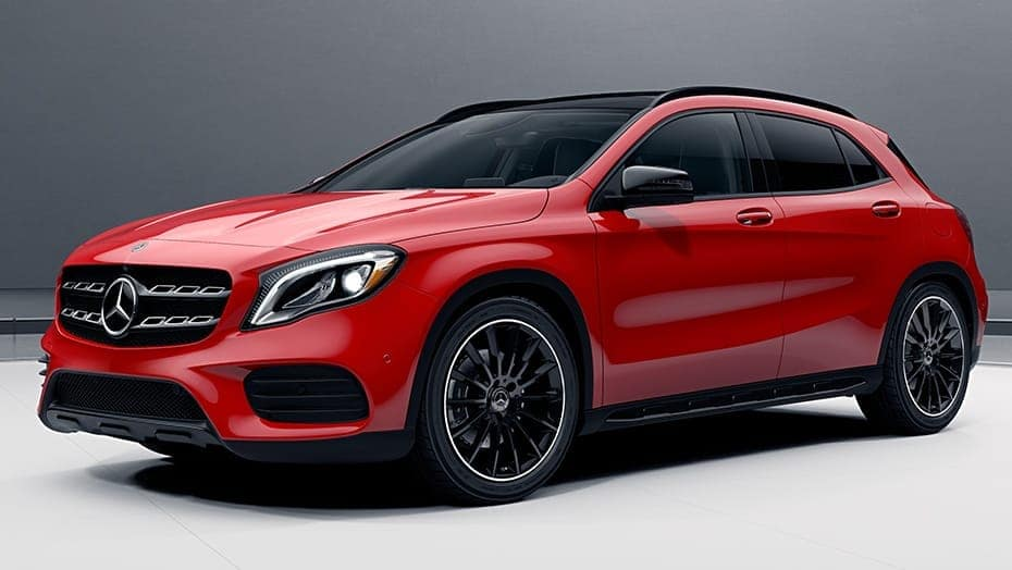 Image of a red 2019 Mercedes-Benz GLA 250 crossover.