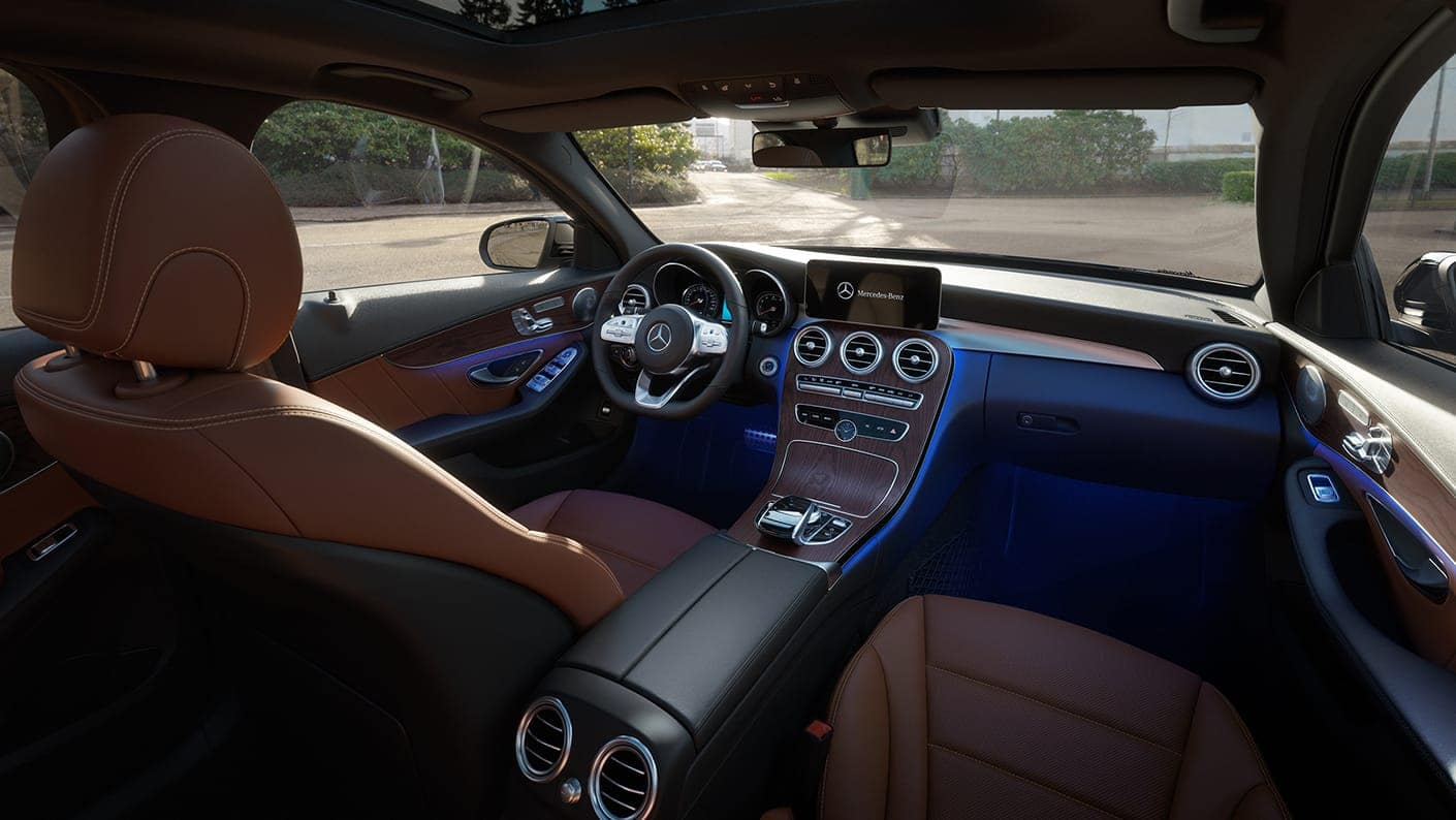 Image of the interior of a 2019 Mercedes-Benz C-Class sedan.