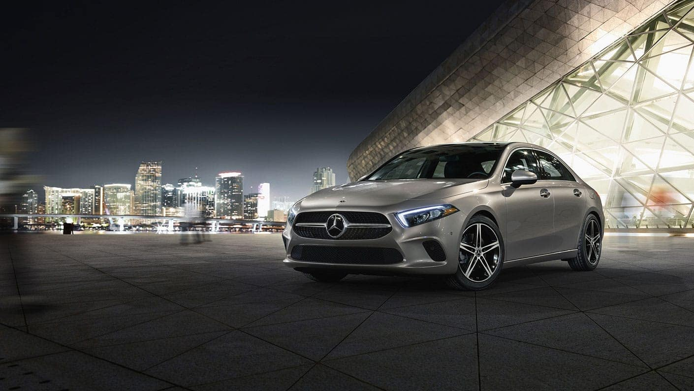 Image of the 2019 Mercedes-Benz A-Class sedan parked at night.