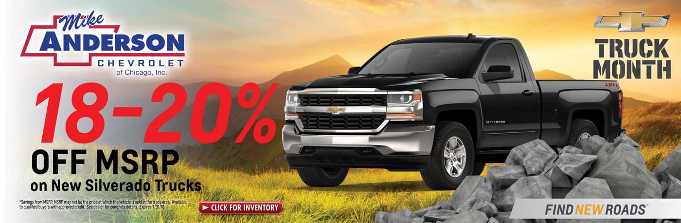 18-20% off new Silverado trucks