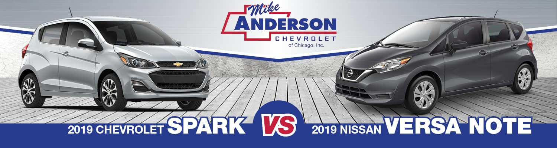 2019 nissan versa note vs 2019 chevy spark near skokie il. Black Bedroom Furniture Sets. Home Design Ideas