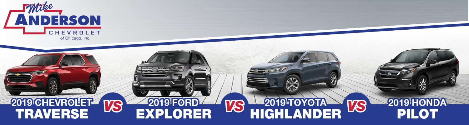 2019 Chevrolet Traverse vs Ford Explorer vs Toyota Highlander vs Honda Pilot