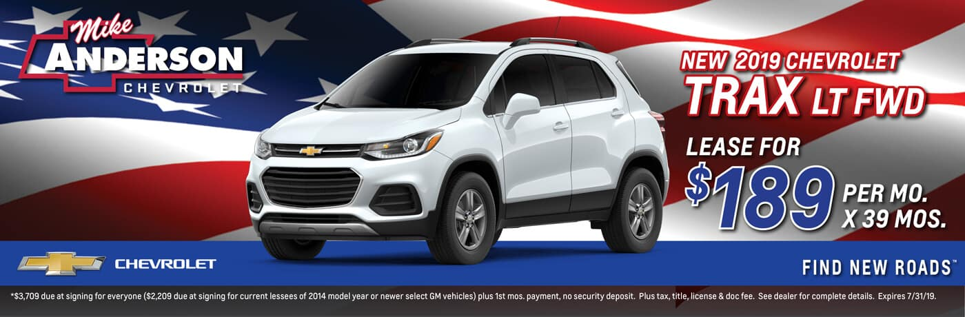 Lease a 2019 Chevrolet Trax LT FWD for $189 per mo. for 39 mos.