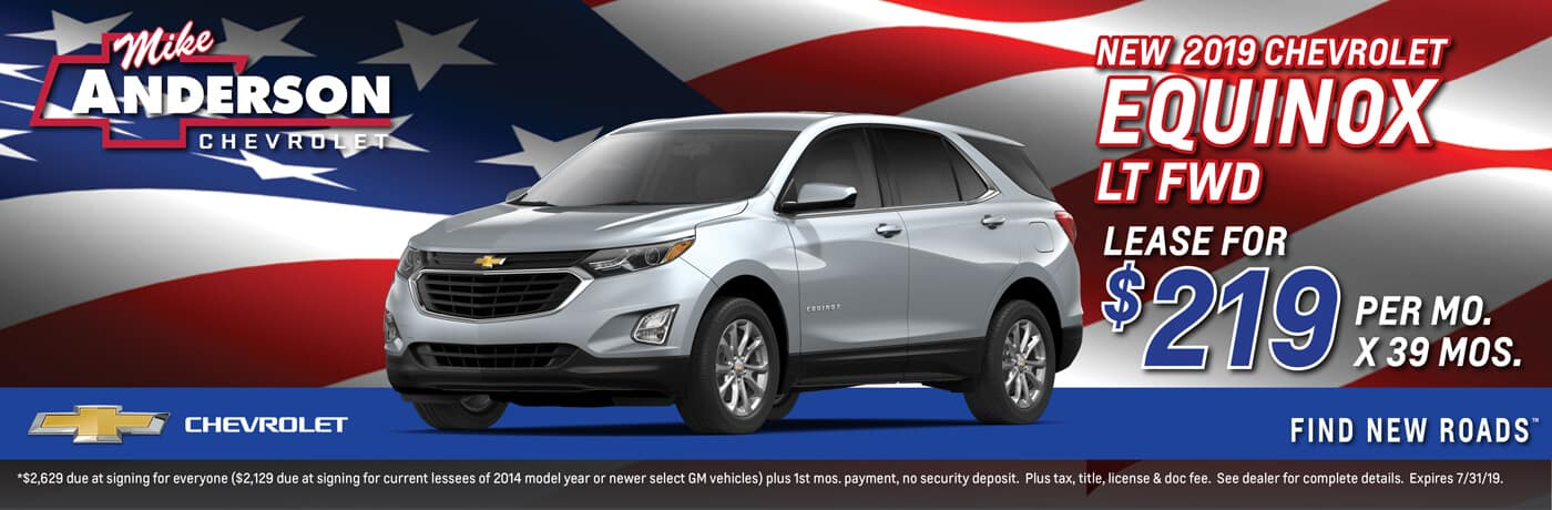Lease a 2019 Chevrolet Equinox LT FWD for $219 per mo. for 39 mos.