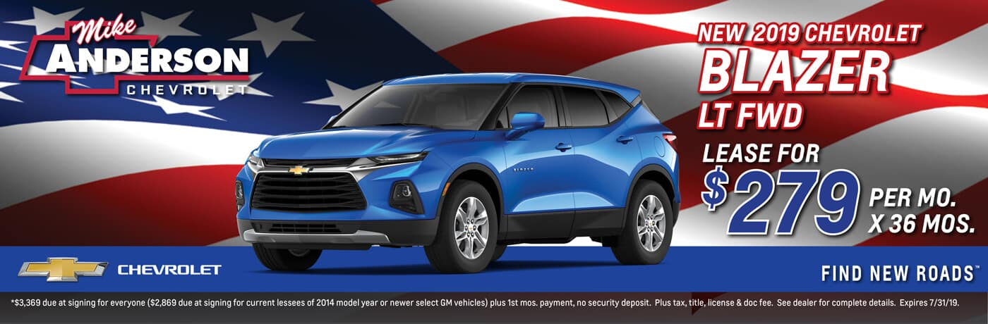 Lease a 2019 Chevrolet Blazer LT FWD for $279 per mo. for 36 mos.