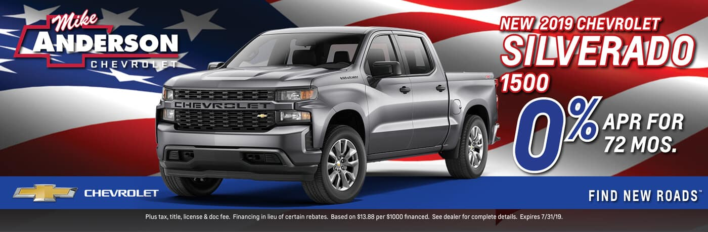 Get 0% APR for 72 Mos. on a 2019 Chevy Silverado 1500