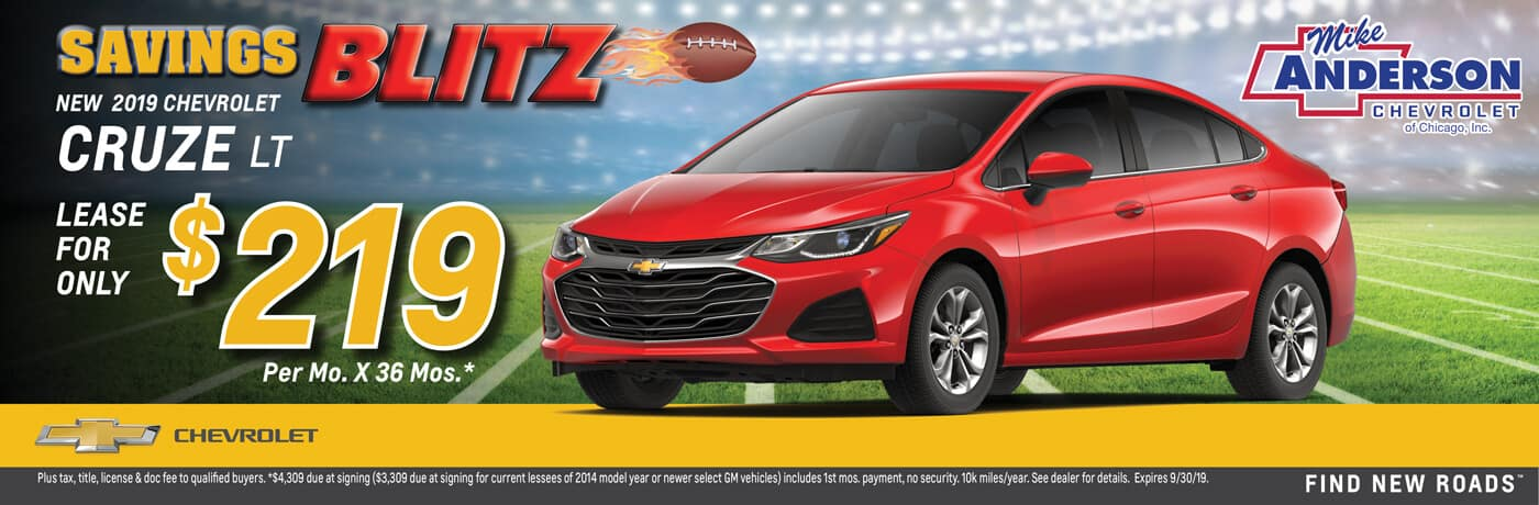 Lease a 2019 Chevrolet Cruze LT for $219/mo. for 36 mos.